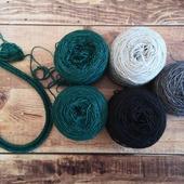 Je ne résiste pas à commencer un nouveau projet mais j'ai enfin trouvé LES COULEURS! Des idées du modèle ?  Base Pure Single coloris Carbone, Gris Perle, Orage et le petit nouveau Vert Impérial.   #latelierteinture #laineteintealamain #handdyedyarn #jura #yarnaddict #colorworkknitting #knitlovewool